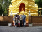 Chiang Mai, Thailand: Photo of whole Kent gang in front of a beautiful gold (not paint, but real gold leaf) shrine at a