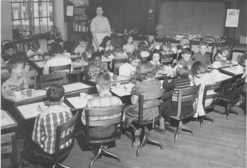 Mrs. Duffany's 3rd grade class having breakfast together, Henry St. John's Elementary School, December 13, 1951