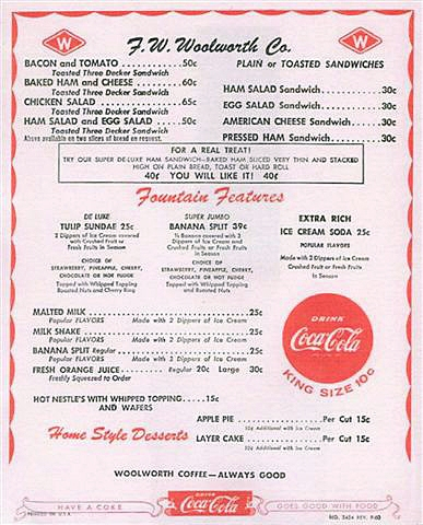 Woolworth's Sandwich Menu Circa 1957