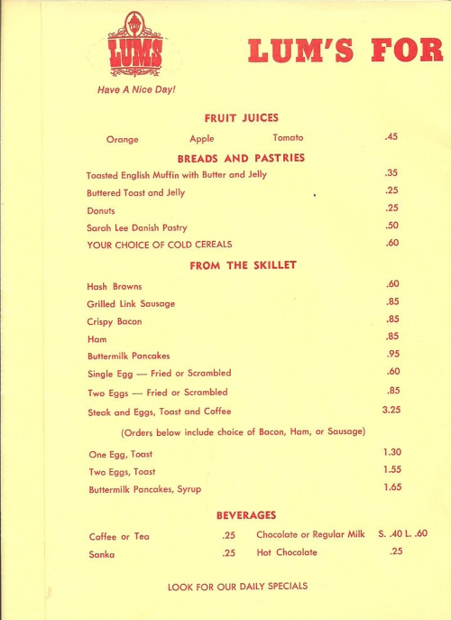Lum's Breakfast Menu, Page 1