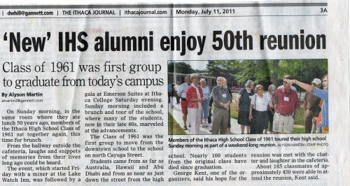 Ithaca Journal Article On IHS Class of 1961 50th Reunion